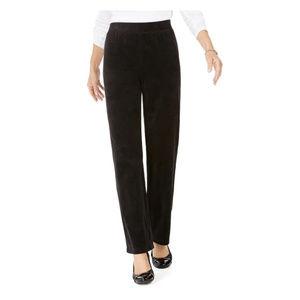 Karen Scott Petite Deep Black Velour Pull On Pants